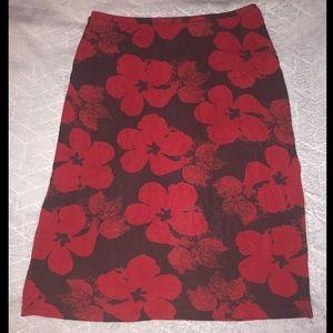 Banana Republic black and red floral midi skirt
